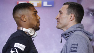 Anthony Joshua and Wladimir Klitschko came face-to-face on Thursday